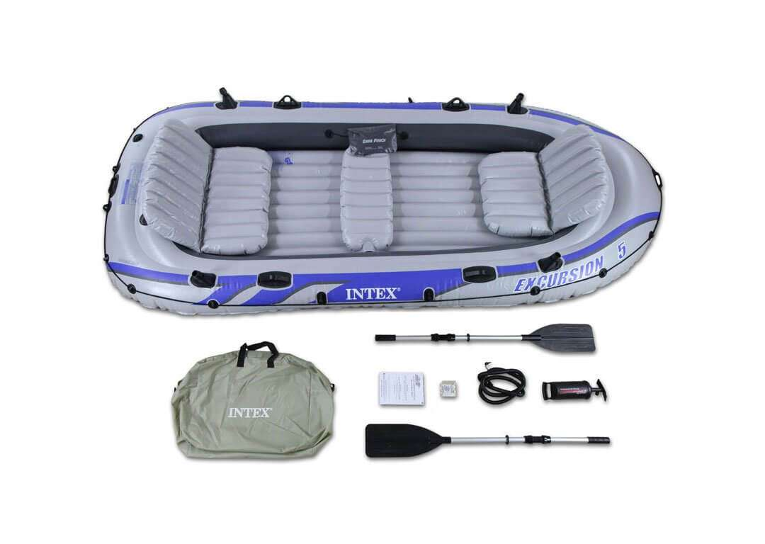 Intex Excursion 5 Inflatable Raft Boat Set With Aluminum Oars